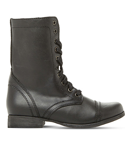 STEVE MADDEN Troopa leather work boots (Black-leather