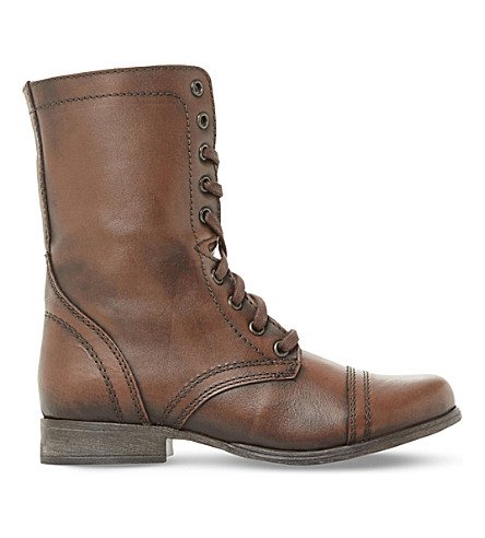 STEVE MADDEN Troopa leather work boots (Brown-leather