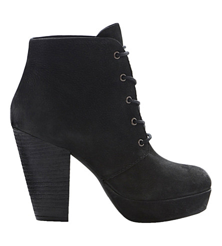 STEVE MADDEN Raspy leather lace-up boots (Black leather