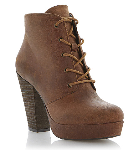 STEVE MADDEN Raspy leather lace up ankle boot (Tan-leather