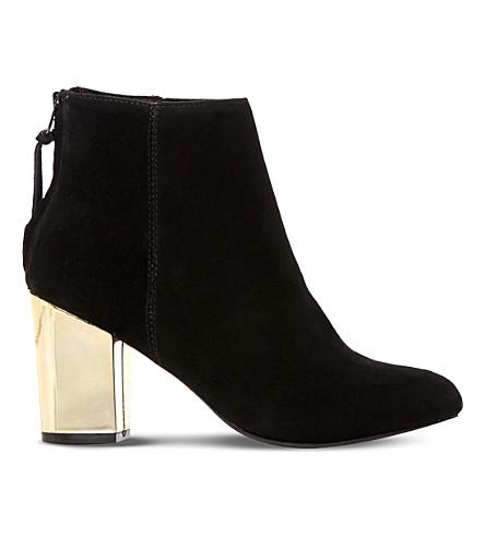 STEVE MADDEN Cynthia-G gold block heel boots (Black-suede