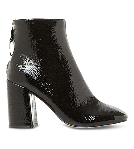STEVE MADDEN Posed patent-effect heeled ankle boots (Black-patent