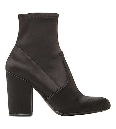 STEVE MADDEN Gaze stretch-satin heeled ankle boots (Black-satin
