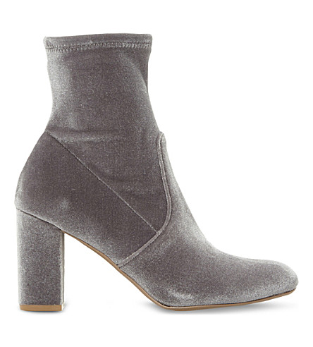 STEVE MADDEN Avenue velvet heeled ankle boots (Grey-fabric