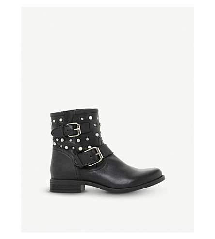 STEVE MADDEN Cameo leather pearl and stud biker boots (Black-leather