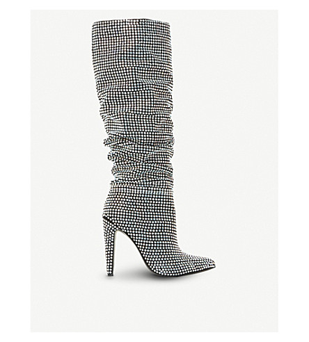 STEVE MADDEN Crushing embellished ruched boots (Black-leather