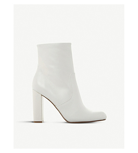 STEVE MADDEN Editor leather sock boots (White-leather