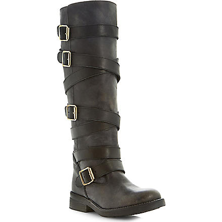 STEVE MADDEN Bryannt buckle knee high boots (Black-leather