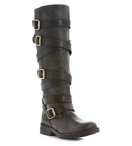 STEVE MADDEN Bryannt buckle knee high boots (Black leather