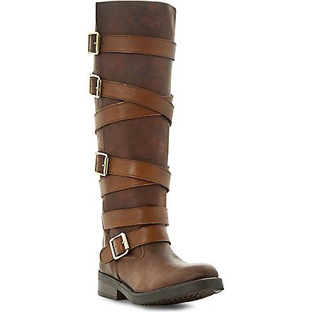 STEVE MADDEN Bryannt buckle knee high boots (Tan-leather
