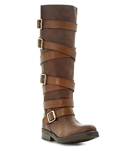 STEVE MADDEN Bryannt buckle knee high boots (Tan-leather