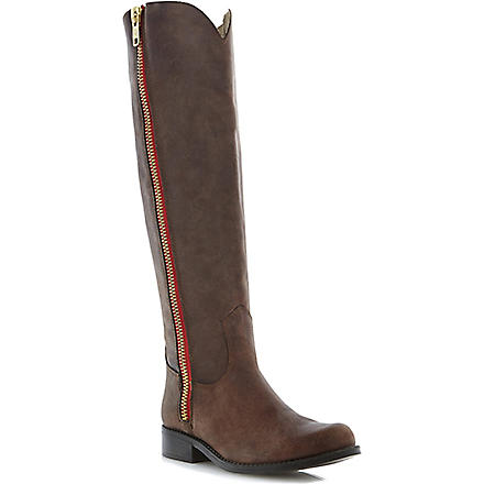 STEVE MADDEN Ruse leather over-the-knee high boots (Brown-leather
