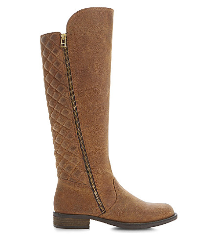 STEVE MADDEN Northside SM quilted-back knee high boots (Tan-leather