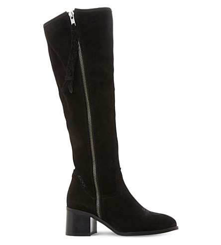 STEVE MADDEN Lasso suede knee high boots (Black-suede
