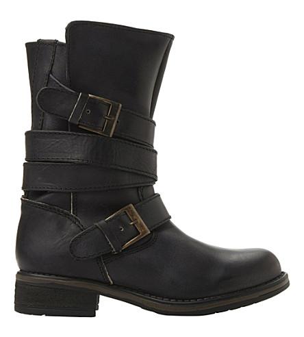 STEVE MADDEN Kindell leather biker boots (Black leather
