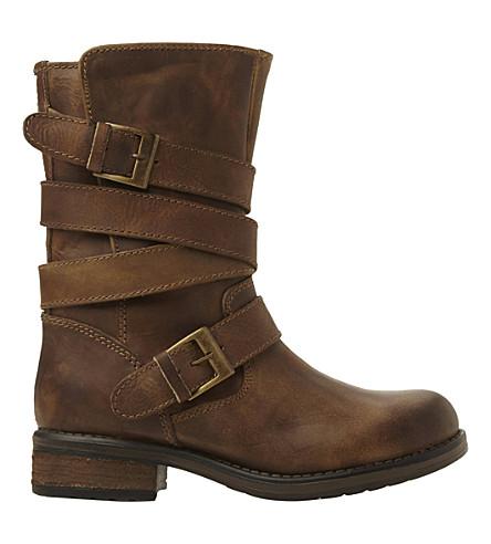 STEVE MADDEN Kindell leather biker boots (Tan-leather