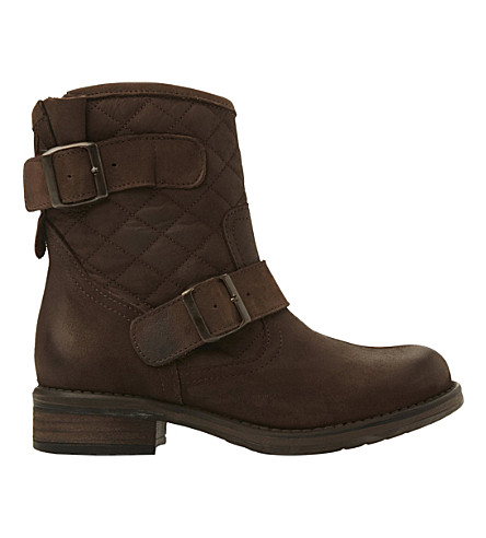 STEVE MADDEN Denmark quilted leather ankle boots (Brown-leather