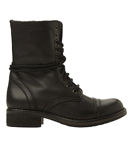 STEVE MADDEN Troopa 2.0 leather ankle boots (Black-leather