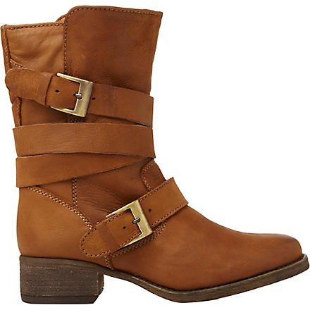 STEVE MADDEN Brewzer leather ankle boots (Tan-leather