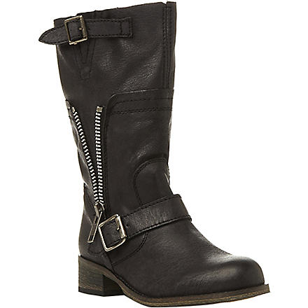 STEVE MADDEN Deziary leather biker boots (Black-leather