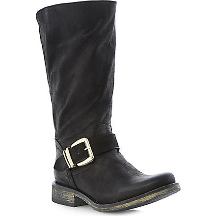 STEVE MADDEN Fyzzle buckle trim leather calf boots (Black-leather