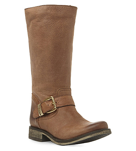 STEVE MADDEN Fyzzle buckle trim leather calf boots (Tan-leather