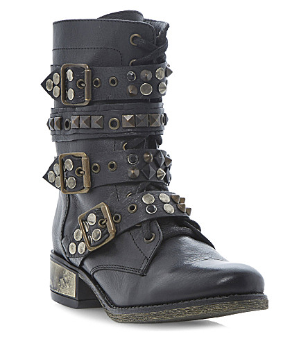 STEVE MADDEN Lilianne studded buckle boots (Black-leather