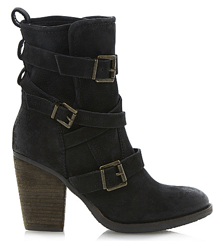 STEVE MADDEN Yale heeled buckle ankle boots (Black leather
