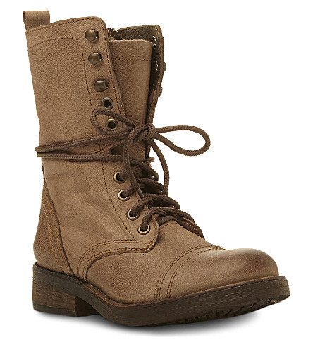 STEVE MADDEN Monch leather lace up combat boots (Brown leather