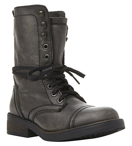STEVE MADDEN Monch-c SM calf-leather biker boots (Grey-leather