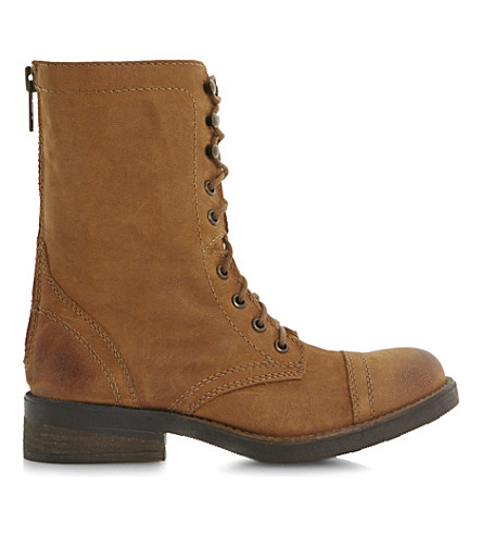 STEVE MADDEN Monch-c SM calf-leather biker boots (Tan leather