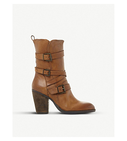 STEVE MADDEN Wen SM leather buckle boots (Tan-leather