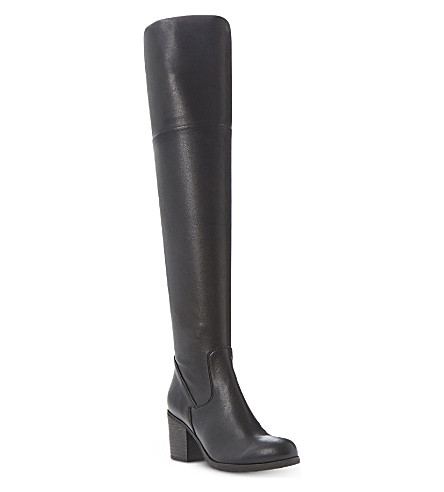 STEVE MADDEN Odyssey over-the-knee leather boots (Black-synthetic
