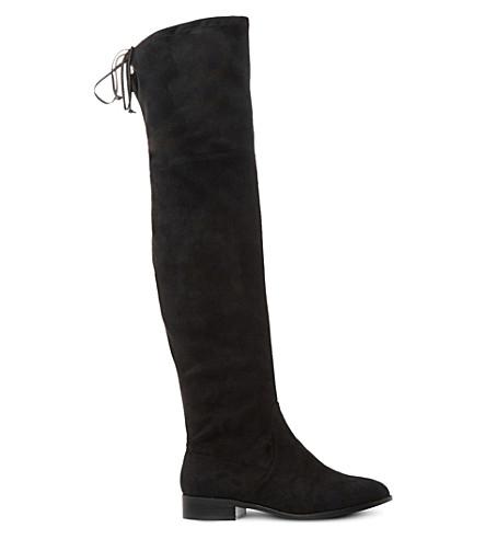 STEVE MADDEN Odina back tie boot (Black-micro fibre