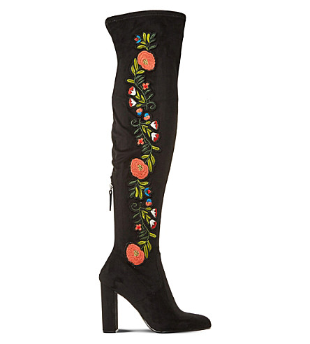 STEVE MADDEN Envoke embroidered over-the-knee boots (Black-micro+fibre
