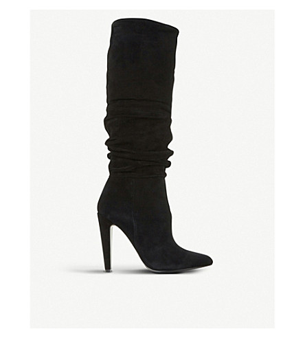 STEVE MADDEN Carrie suede ruched boots (Black-suede