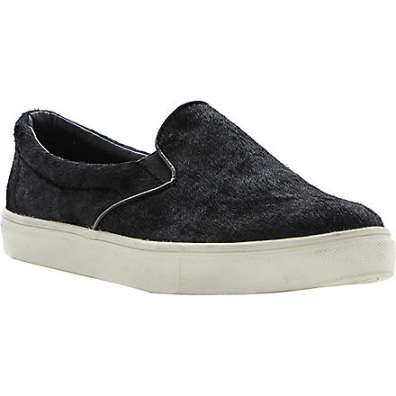 STEVE MADDEN Ecentric ponyhair slip-on trainers (Black-pony