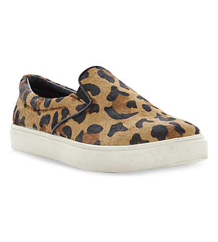 STEVE MADDEN Ecentric leopard print pony hair slip-on trainers (Leopard-pony