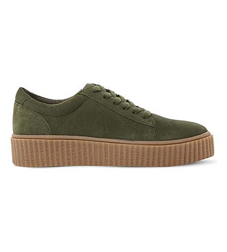 STEVE MADDEN Holllly Creeper flatform sneaker (Green-suede