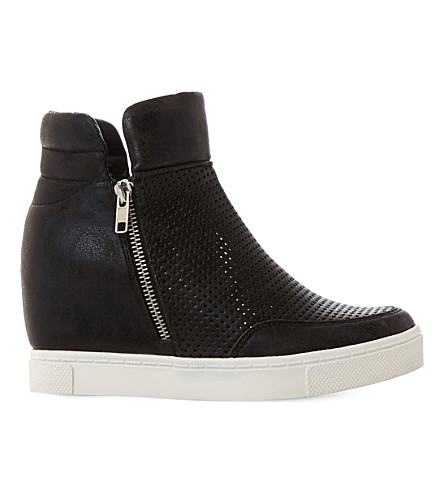 STEVE MADDEN Hidden perforated wedge trainers (Black-synthetic