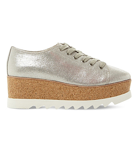 STEVE MADDEN Korrie lace-up leather flatforms (Silver-synthetic