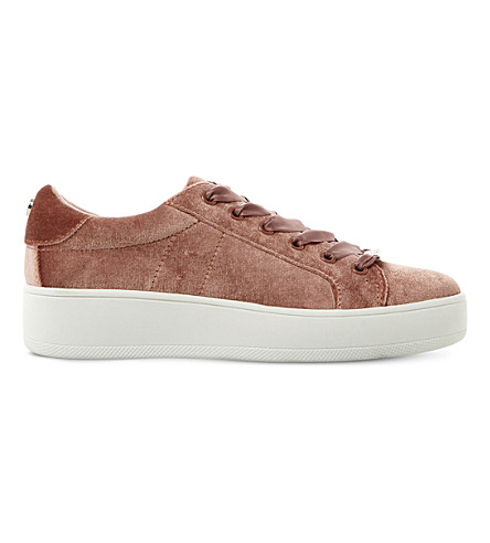 STEVE MADDEN Bertie-V velvet flatform trainers (Pink-fabric