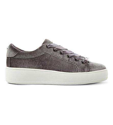 STEVE MADDEN Bertie-V velvet flatform trainers (Grey-fabric