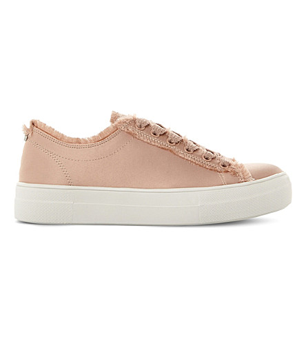 STEVE MADDEN Greyla frayed satin flatform trainers (Blush-fabric