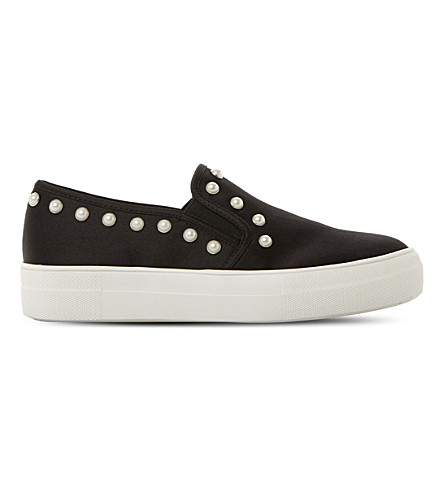 STEVE MADDEN Glacier embellished faux-leather flatform skate shoes (Black-satin