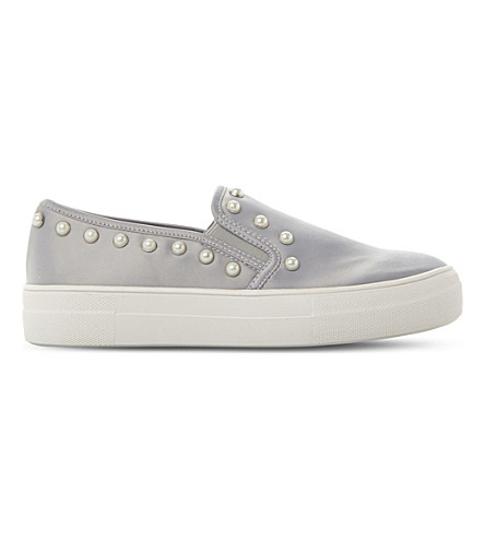 STEVE MADDEN Glacier embellished faux-leather flatform skate shoes (Grey-satin