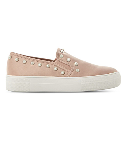 STEVE MADDEN Glacier embellished faux-leather flatform skate shoes (Blush-fabric