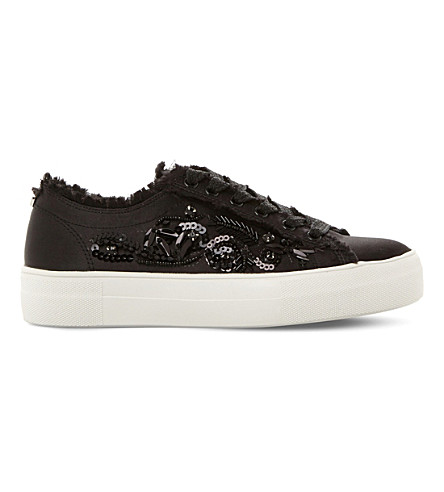 STEVE MADDEN Greed embellished satin flatform trainers (Black-satin