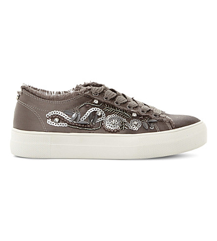 STEVE MADDEN Greed embellished satin flatform trainers (Grey-satin