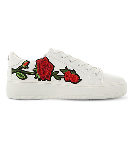 STEVE MADDEN Bertie-M floral embroidered flatform trainers (White-synthetic